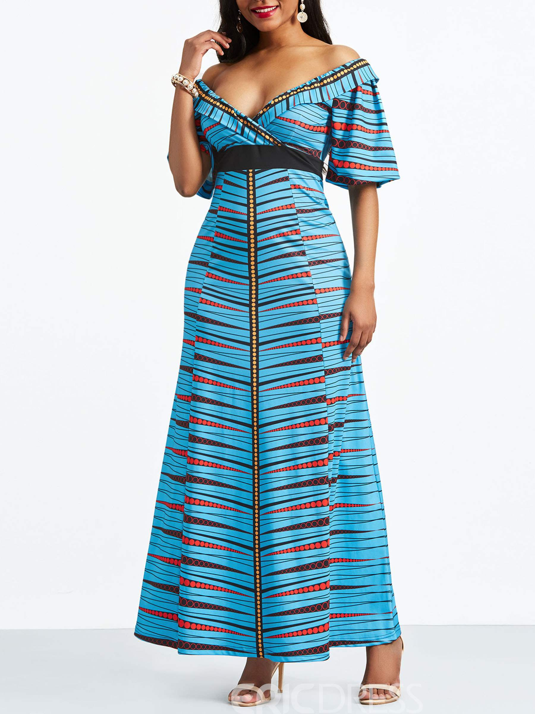 Ericdress Slash Neck Geometric Half Sleeve Maxi Dress