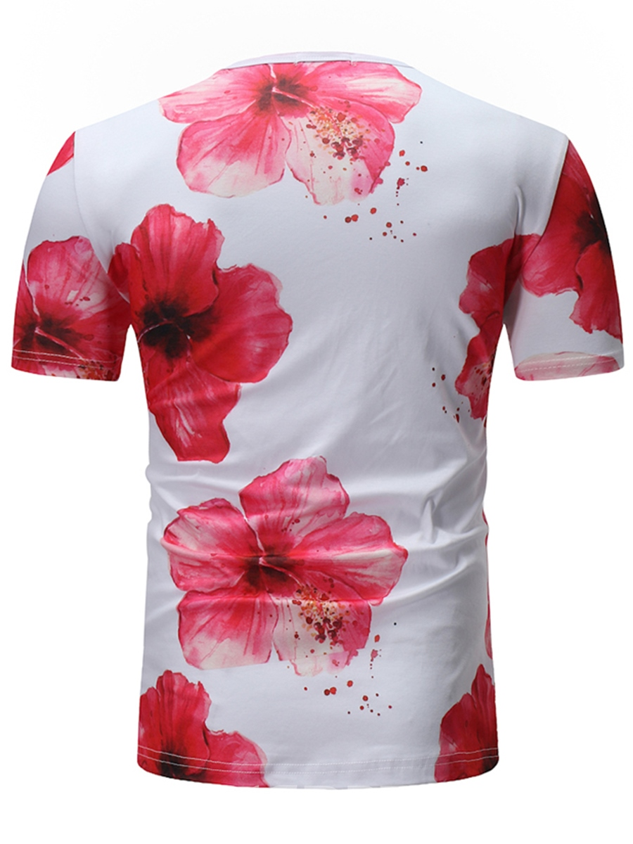 Ericdress Floral Printed Slim Short Sleeve Mens Scoop T Shirt
