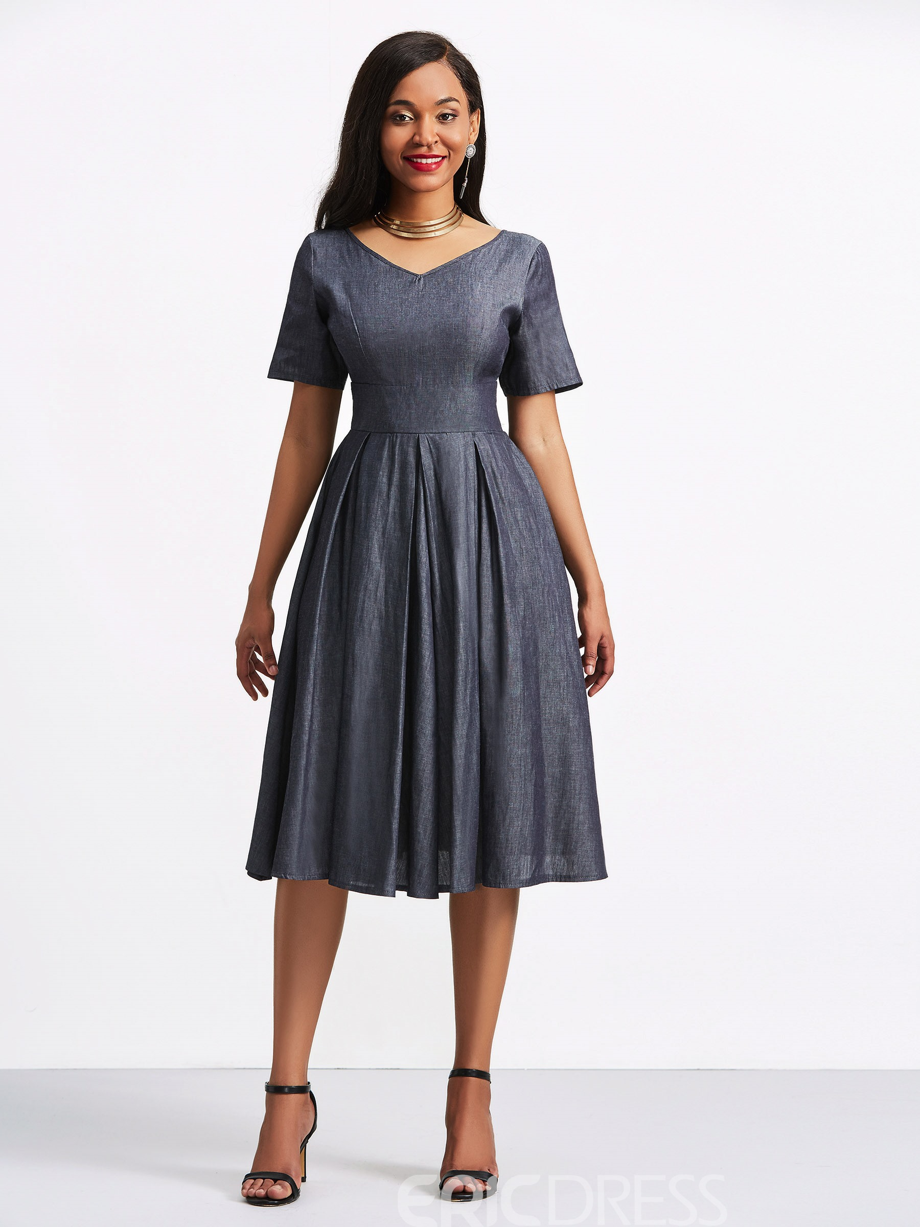 Ericdress V-Neck Plain Short Sleeve A Line Casual Dress