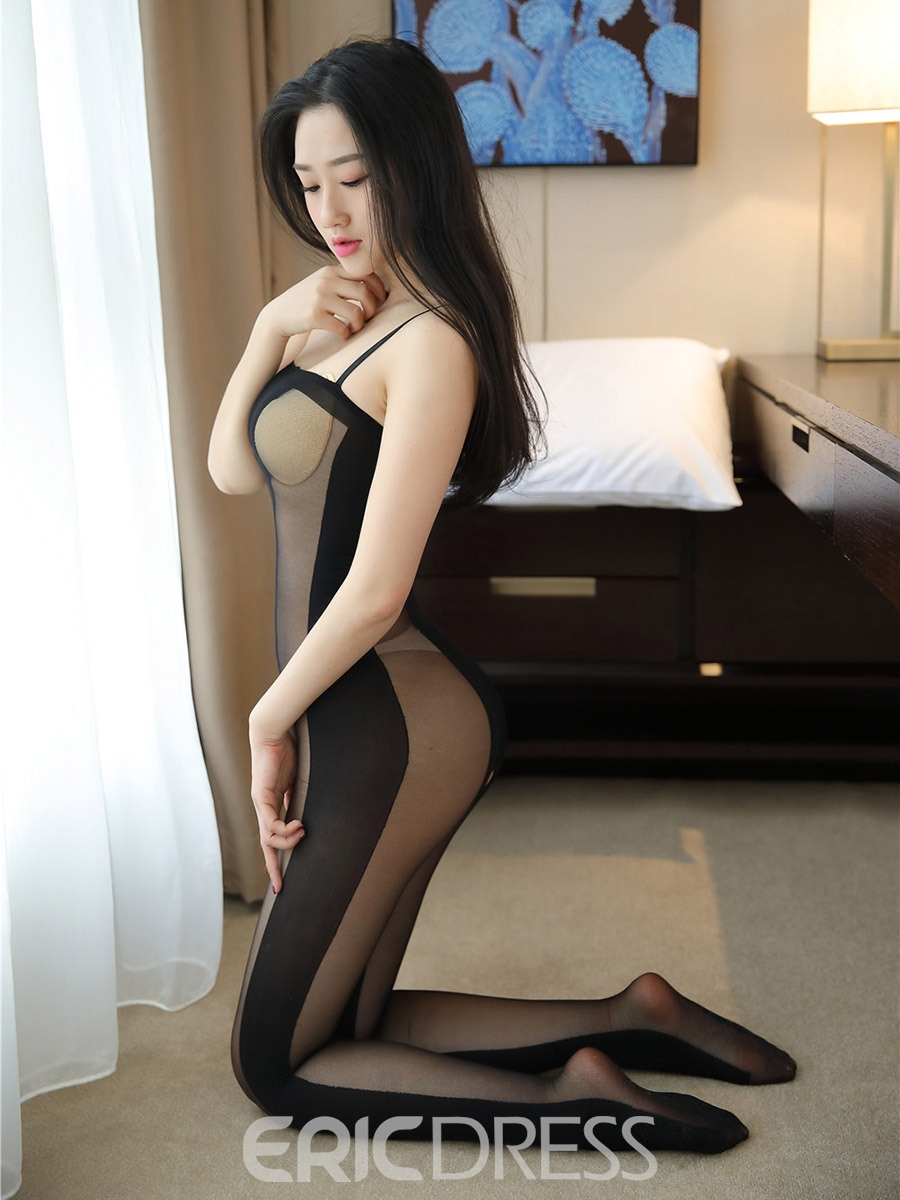 Ericdress Fishnet Stripe Spaghetti Strap Sexy Pantyhose Bodystocking