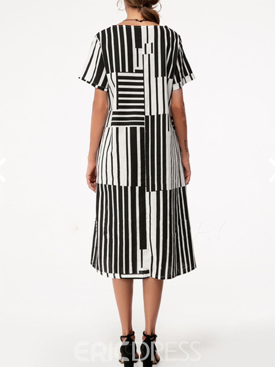 Ericdress Mid-Calf Stripe Pullover Casual Dress