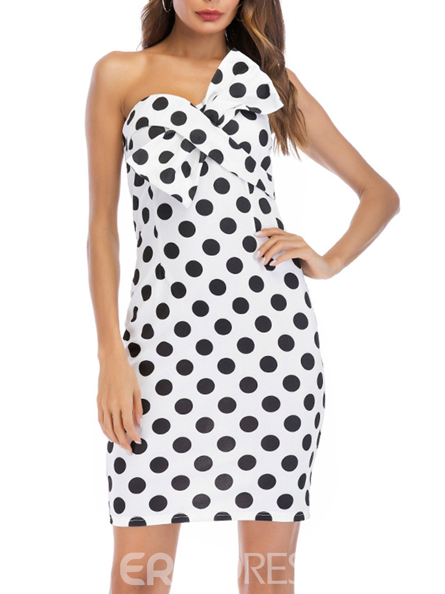 Ericdress Bowknot Polka Dots Strapless Bodycon Dress