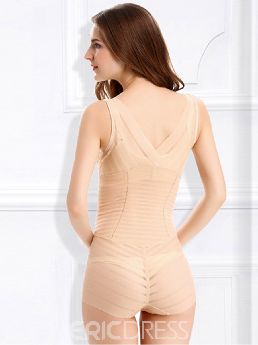Ericdress Deep V-Neck Stripe See-Through Bodysuit