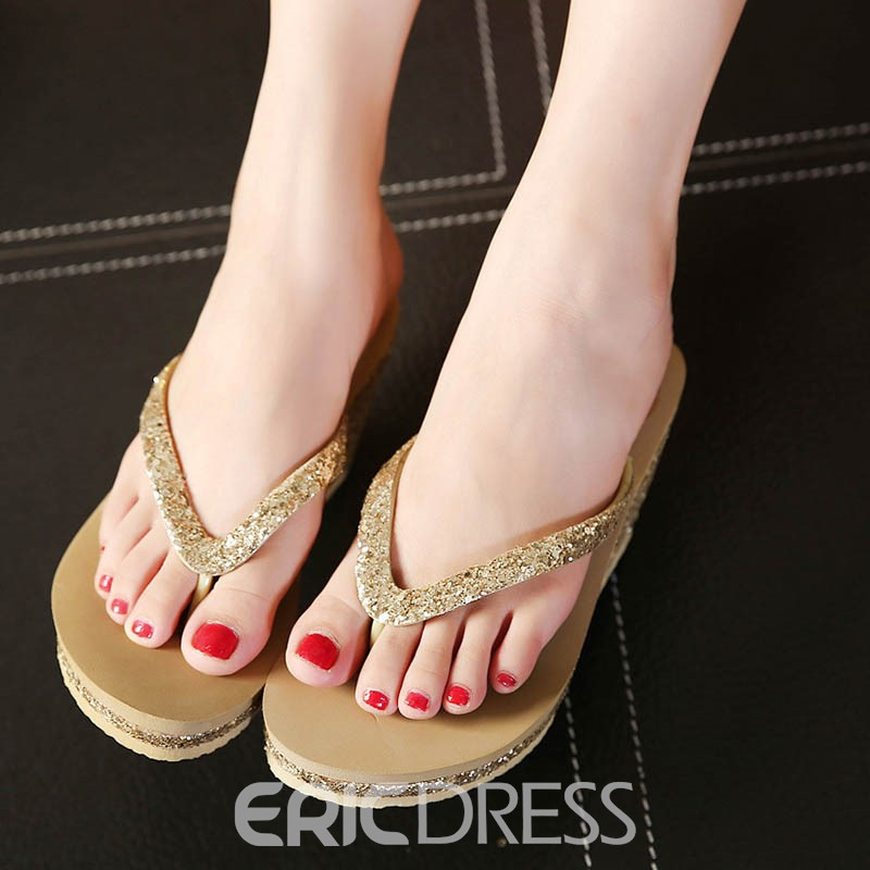 Ericdress Sequin Platform Thong Wedge Heel Mules Shoes