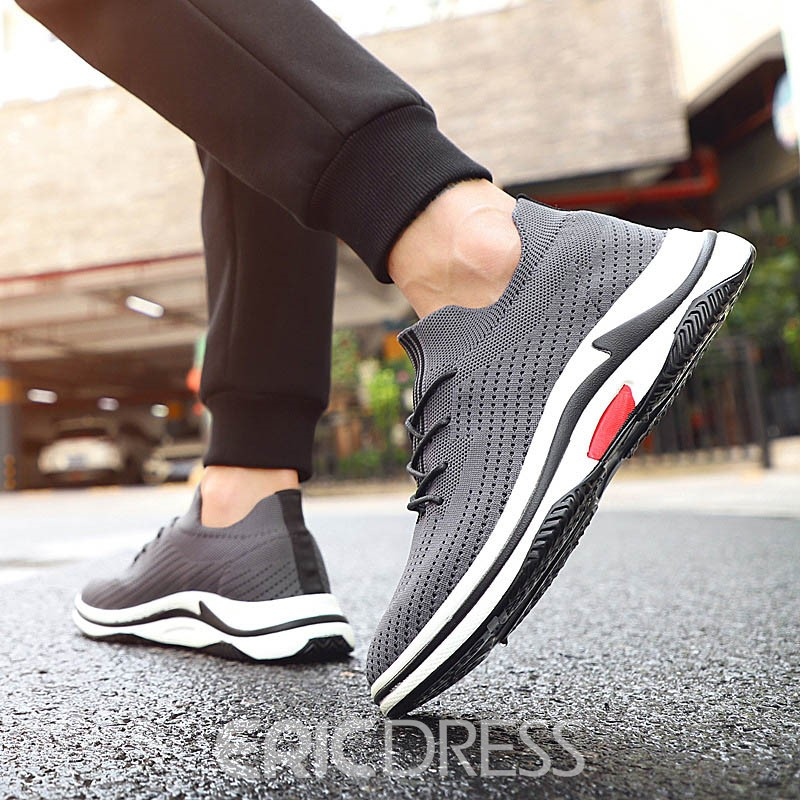 Ericdress Mesh Lace-Up Round Toe Plain Men's Athletic Shoes