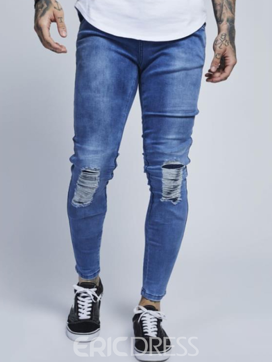 Men's Clothing Bottoms Light Blue Slim Ripped Jeans