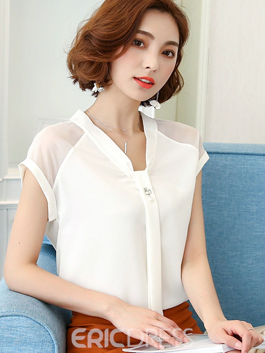 f0d097d84e5eb3 Ericdress Women's Tie Front V-Neck Short Sleeve Blouse 13264400 ...