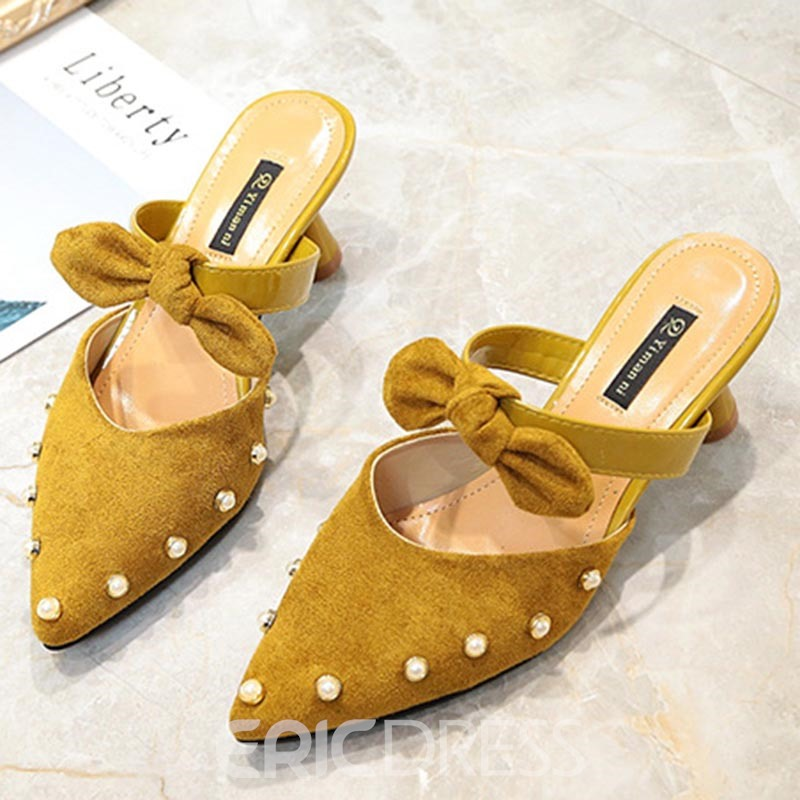 Ericdress Bowknot Shaped Heel Mules Shoes with Beads