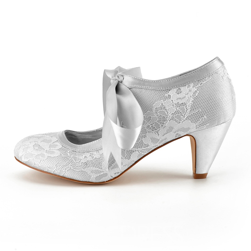 Ericdress Lace Round Toe Chunky Heel Wedding Shoes