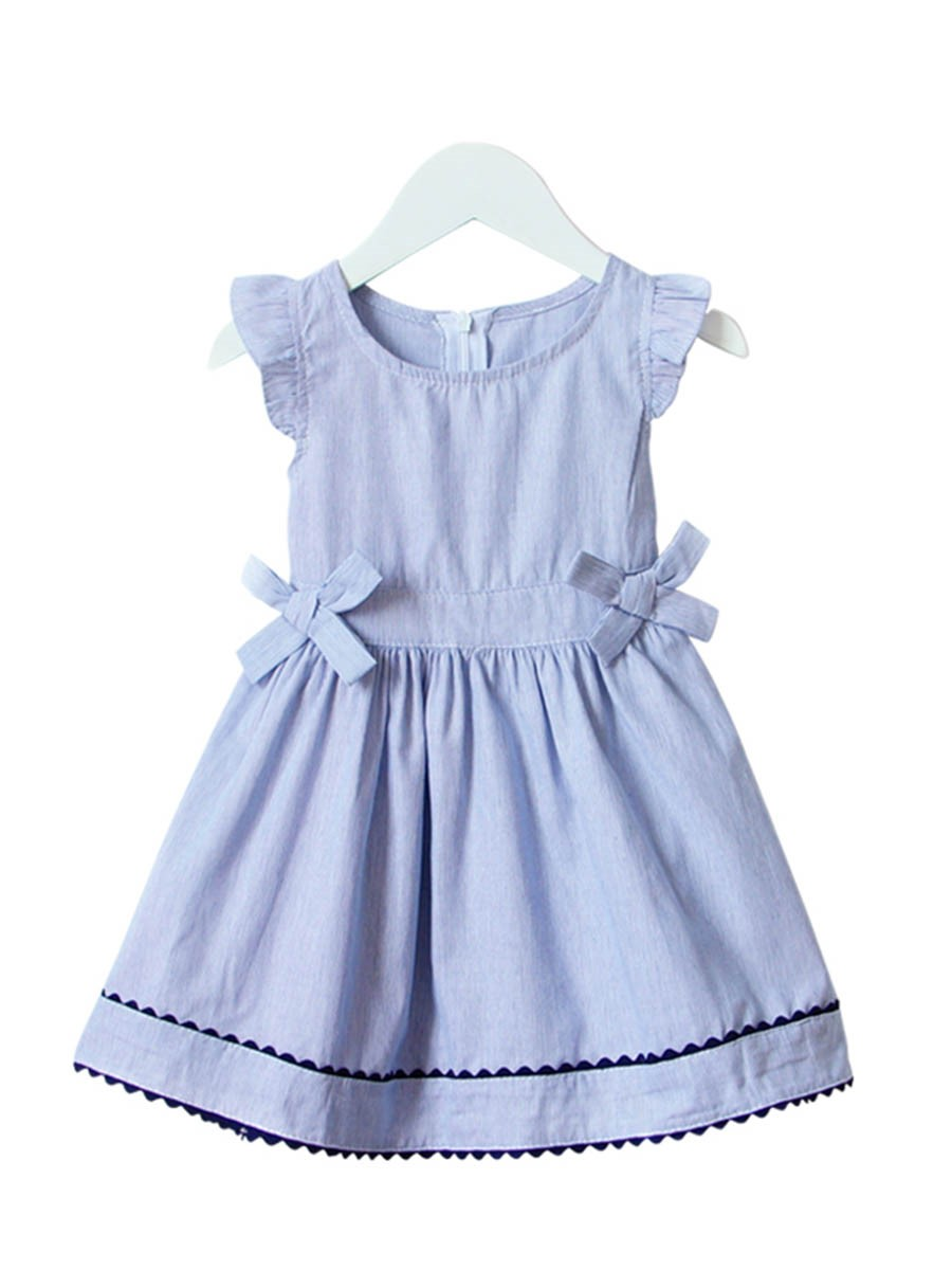 Ericdress Bowknot Cap Sleeve Stripe Girl's Casual Dress