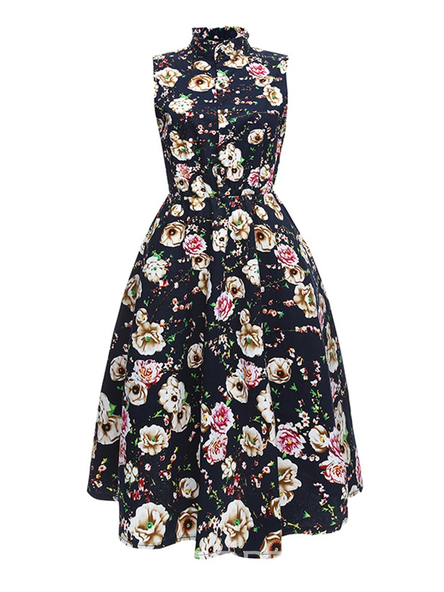 Ericdress Floral Stand Collar Single-Breasted A-Line Dress