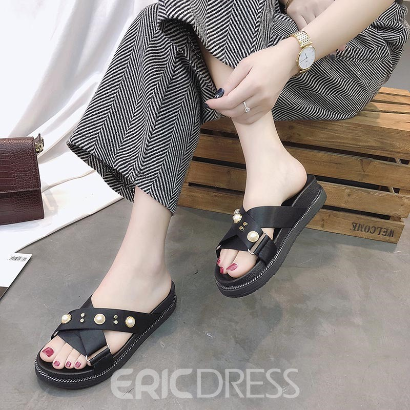 Ericdress Beads Platform Slip-On Mules Shoes