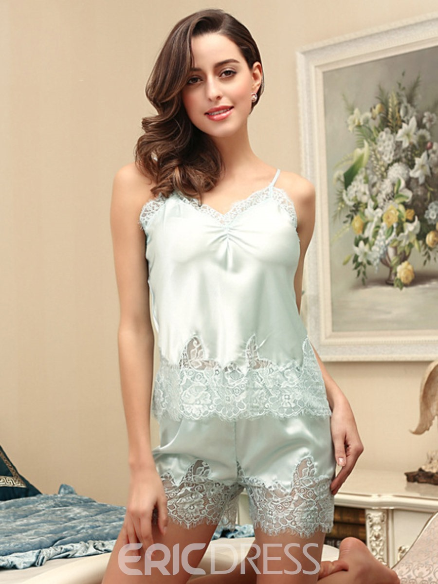 Ericdress Pleated Sleeveless Lace Satin Pajama Camisole Short Sets