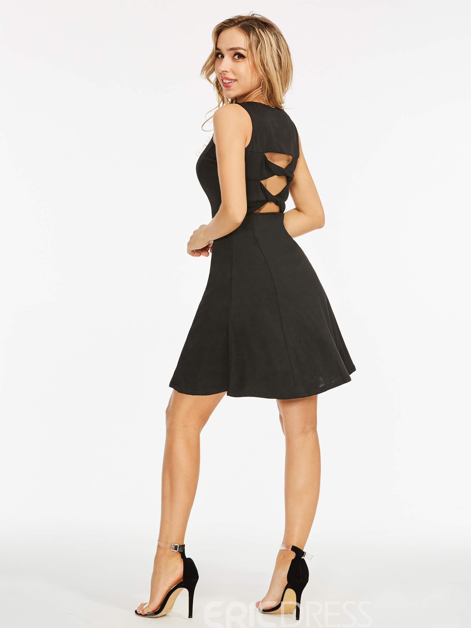 Ericdress Polyester Hollow Backless A-Line Dress