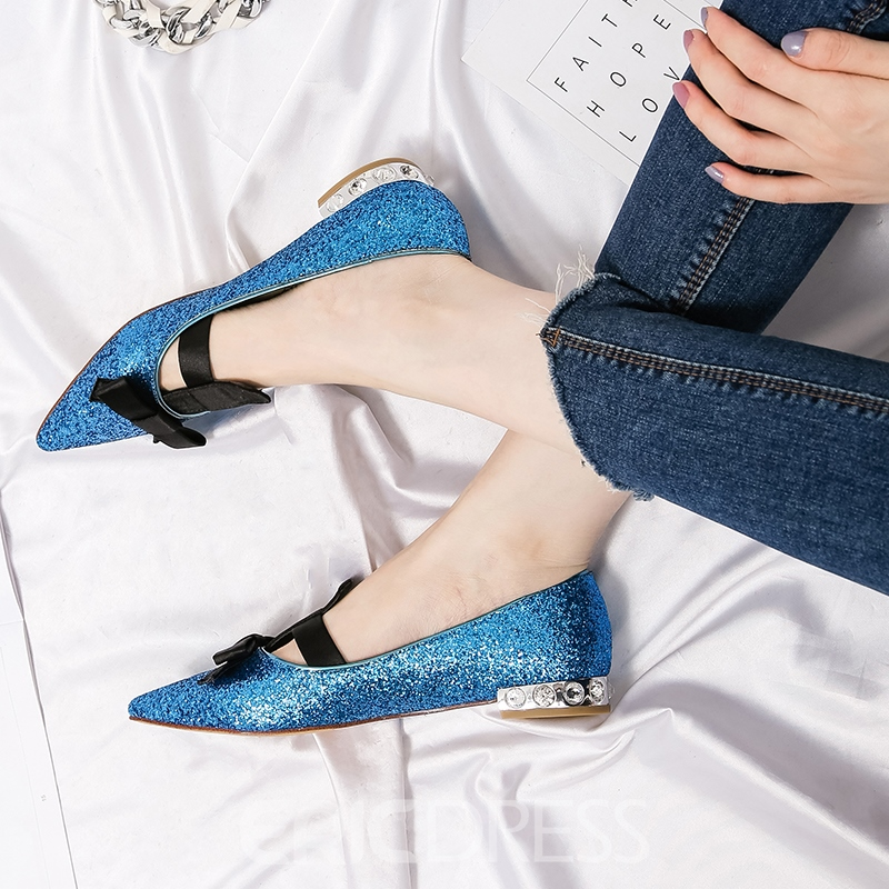 Ericdress Sequin Slip-On Pointed Toe Flats with Bowknot