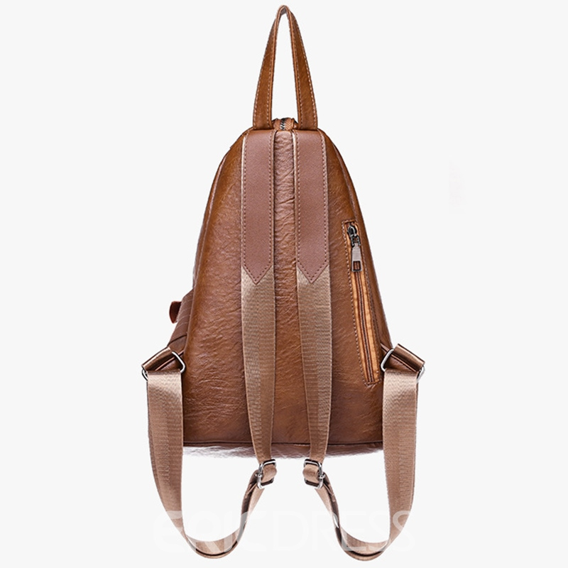 Ericdress Vintage Plain Zipper Backpack
