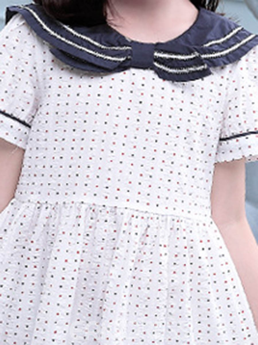 Ericdress Stripe Polka Dots Girl's Summer Casual Dress