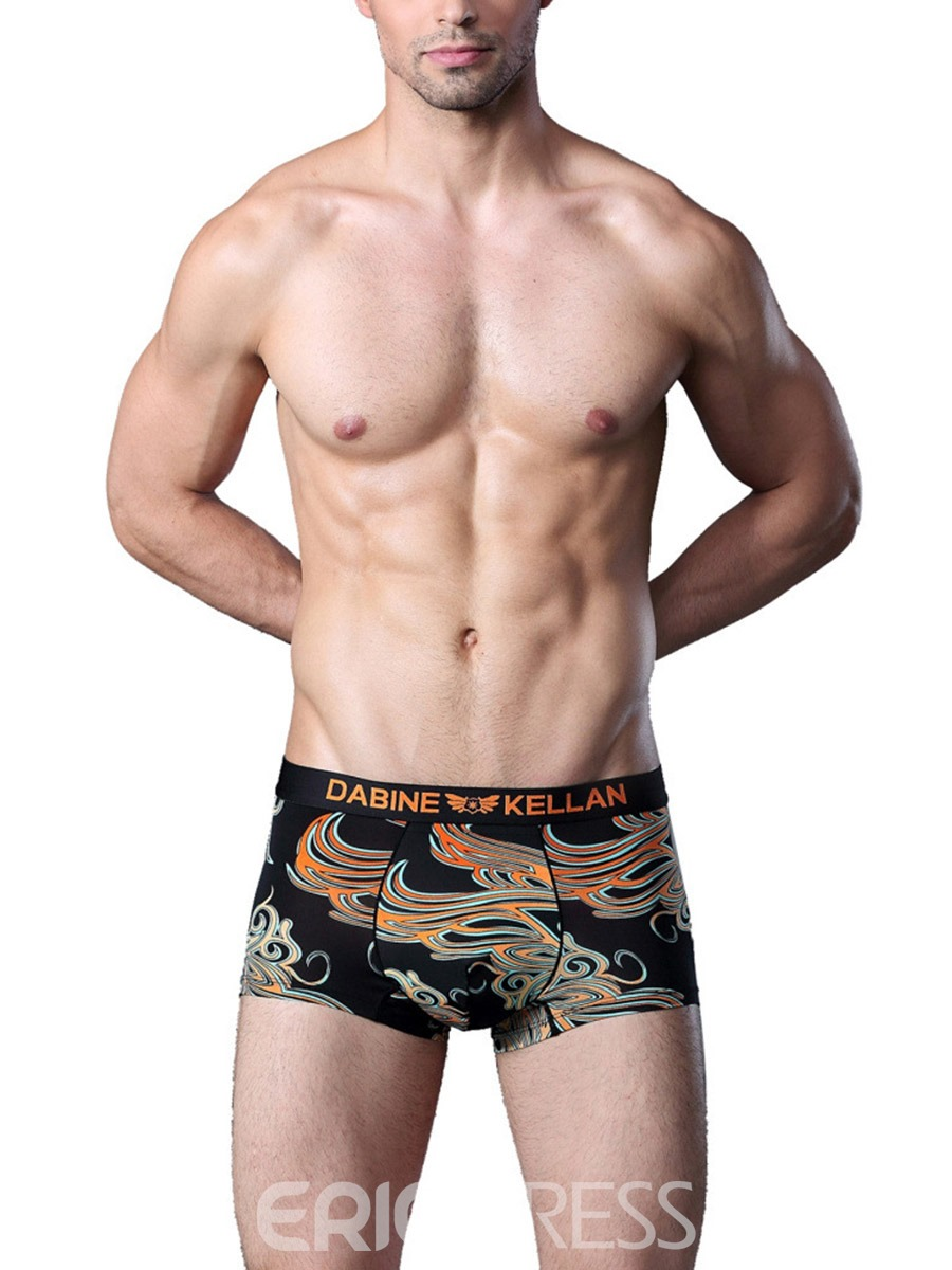 Ericdress Casual Chinese Style Totems Printing U Convex Boxer Briefs