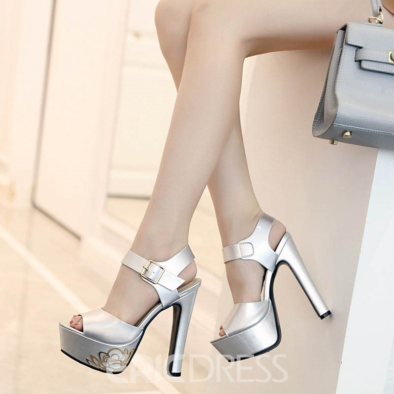 Ericdress Sequin Ankle Strap Peep Toe Chunky Sandals