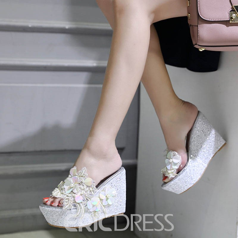 Ericdress Appliques Platform Slip-On Wedge Heel Mules Shoes
