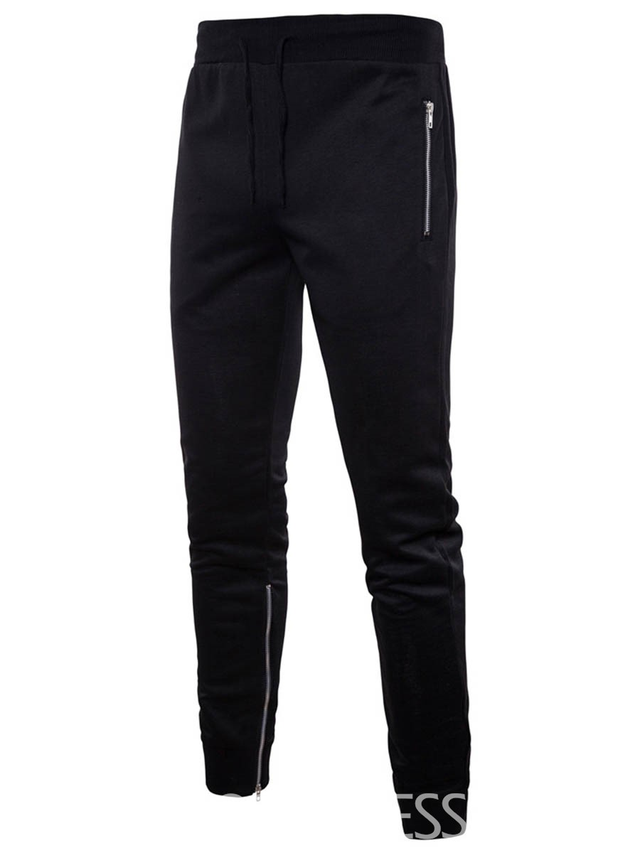 Ericdress Side Zip Plain Loose Lace Up Mens Sports Pants