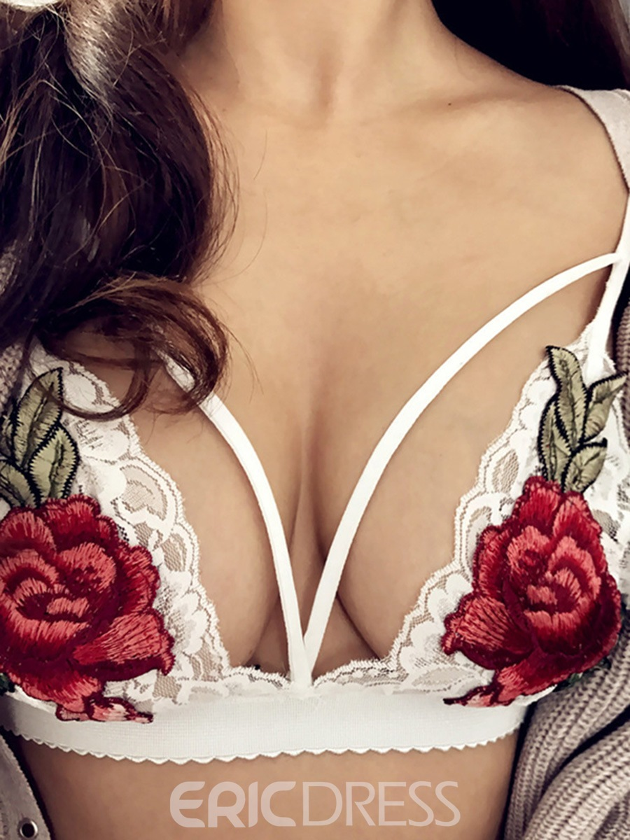 Ericdress Embroidery Floral Hollow Bra