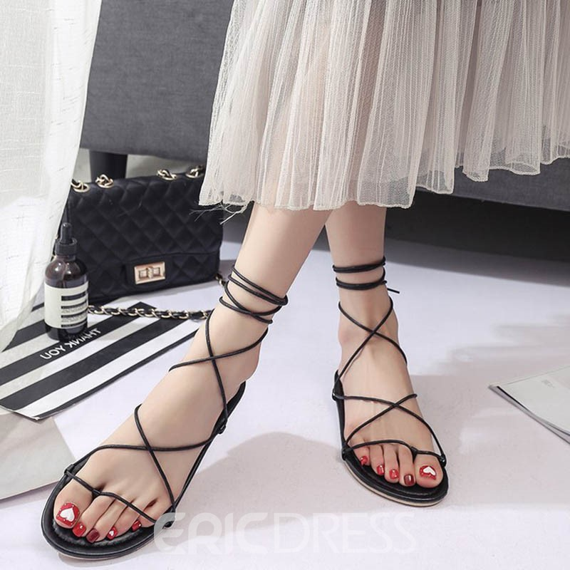 Ericdress Plain Lace-Up Ankle Strap Flat Sandals