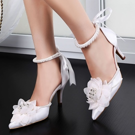 ericdress appliques strass perles lacets chaussures de mariage