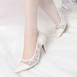 Ericdress Lace Pointed Toe Slip-On Stiletto Heel Wedding Shoes