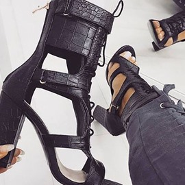 Ericdress PU Zipper Heel Covering High-Cut Chunky Sandals