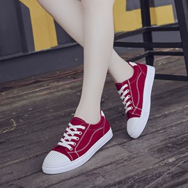 Ericdress Platform Canvas Thread Lace-Up Women's Sneakers