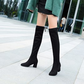 Ericdres Round Toe Chunky Heel Lace-Up Back Knee High Boots