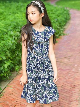 Ericdress Floral Printed Ruffles Cap Sleeve Girl's Casual Dress