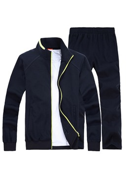 Ericdress Plain Zipper Jackets & Pants Mens Casual Sports Suits