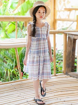 Ericdress Plaid V-Neck Pleated Bowknot Girl's Casual Dress