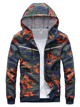 Ericdress Camouflage Printed Hooded Cardigan Mens Casual Hoodies