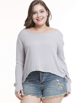 Ericdress Asymmetric Round Neck Plus Size T-Shirt