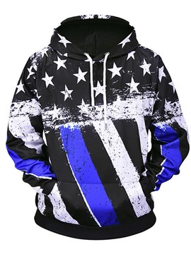 Ericdress American Flag Printed Lace Up Mens Pullover Hoodies