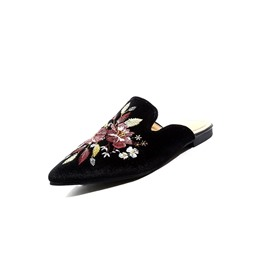 Ericdress Floral Embroidery Slip-On Black Flat Mules