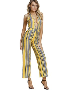 Ericdress Backless Sexy Lace-Up Women's Jumpsuits