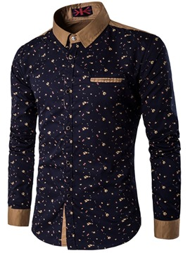 Ericdress Printed Slim Fitted Button Up Mens Shirts
