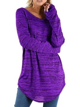 Ericdress Mid-Length Loose Roll-up Long Sleeve Womens T Shirt