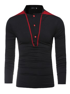 Ericdress Color Block Slim Fitted Long Sleeve Mens Casual T Shirts
