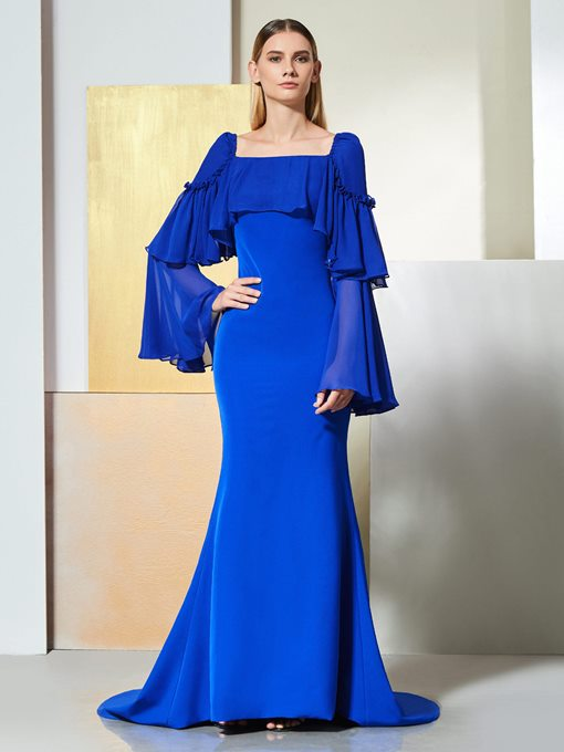 Ericdress Long Sleeve Mermaid Evening Dress With Court Train