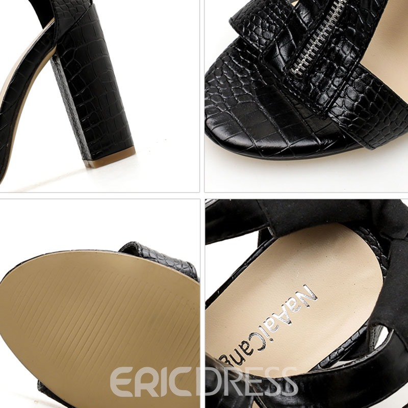 Ericdress Zipper Heel Covering High-Cut Chunky Sandals