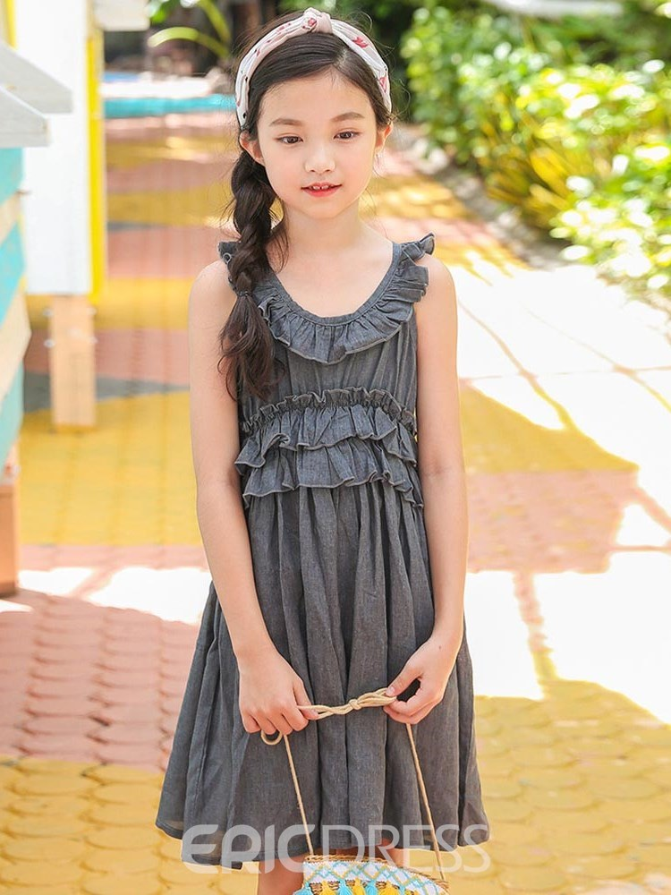 Ericdress Ruffles Pleated Stringy Selvedge Plain Girl's Casual Dress
