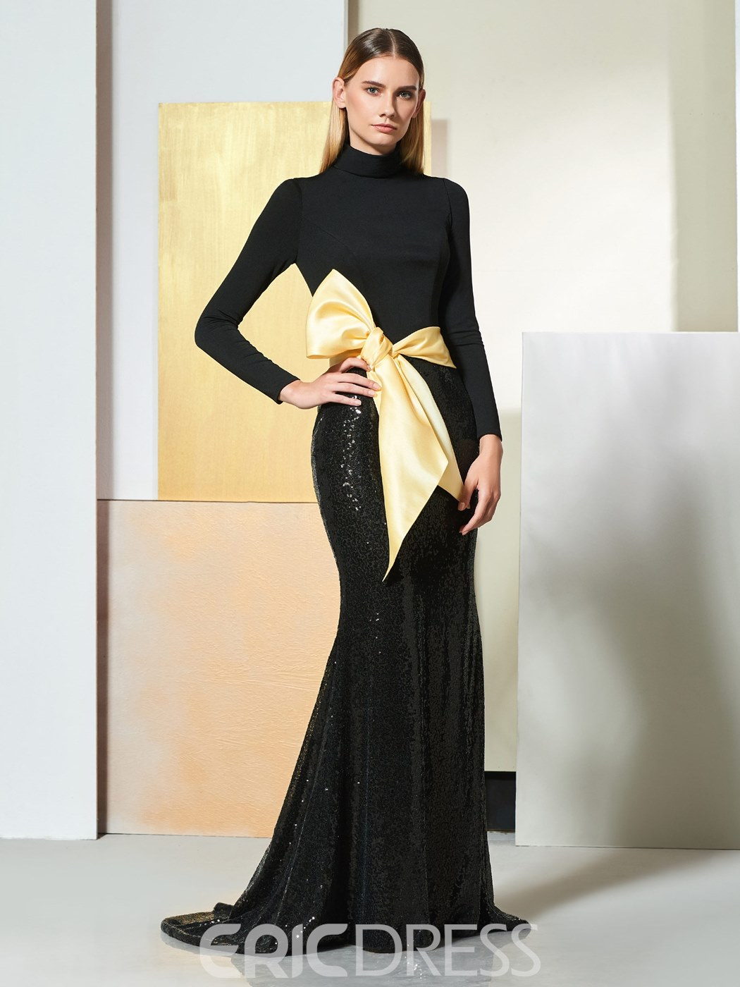 Ericdress Vintage High Neck Mermaid Black Evening Dress With Bowknot