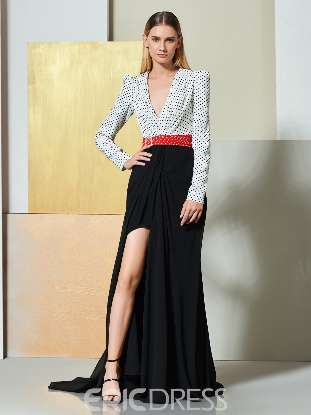 Ericdress A Line Long Sleeve Black And White V Neck Evening Dress