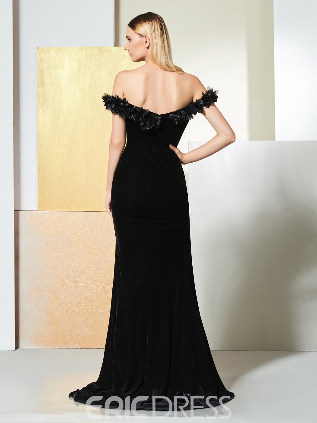 Ericdress Off The Shoulder Split Side Mermaid Black Evening Dress