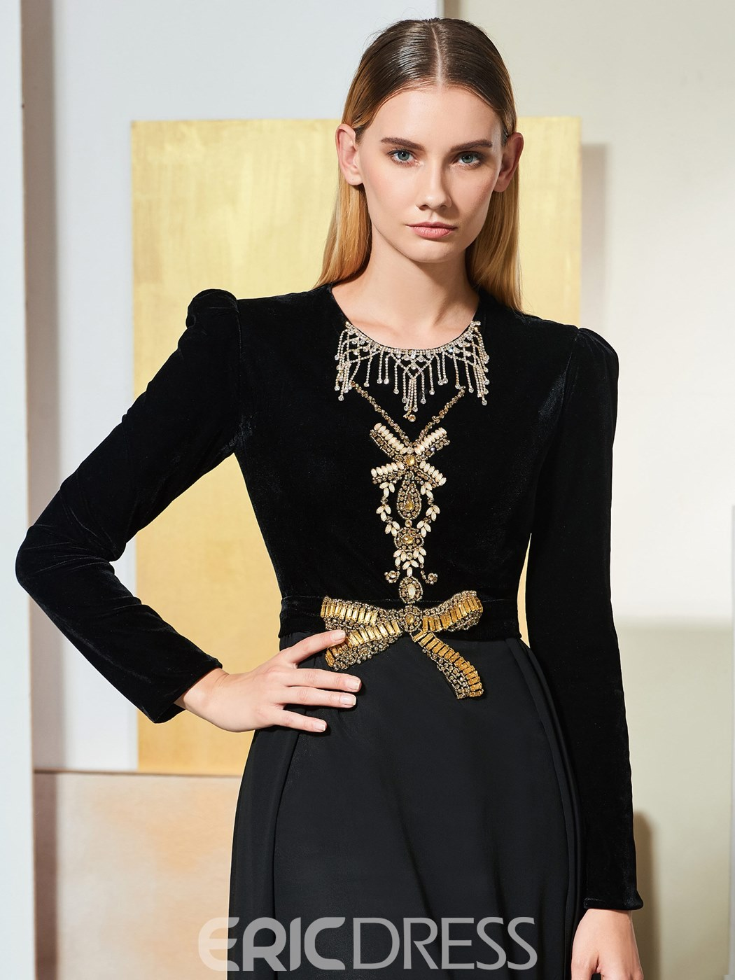 Ericdress A Line Long Sleeve Black Evening Dress With Beadings